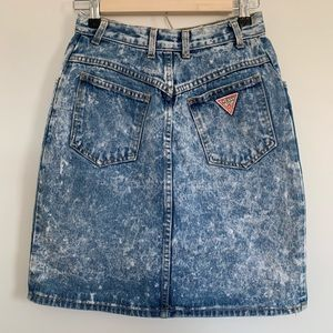 Vintage Guess Acid Washed Denim Skirt  2